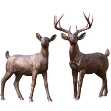 resin animal reindeer statue for outdoor decoration bronze-color animal sculpture