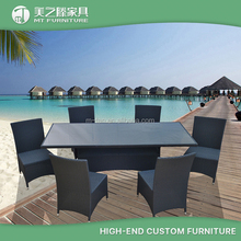 Luxury Durable Easy Cleaning Rattan Wicker Patio Cube Dining Set Chair and Table Outdoor Restaurant Furniture