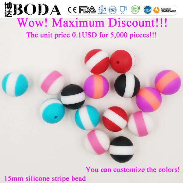 BoDa wholesales food grade silicone baby teething beads