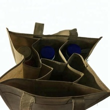 Wholesale Silk Screen print Non Woven 6 Bottles Carrier Packaging Divided Wine Tote heavy duty Bag