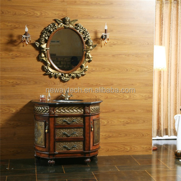 New floor standing luxury antique bathroom cabinet with for Floor standing mirrored bathroom cabinet