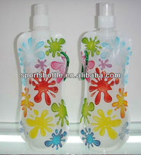 fashionable flexible foldable water bottles with carabiner