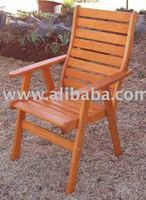 HIGH BACK CHAIR - WOODEN PATIO/GARDEN FURNITURE