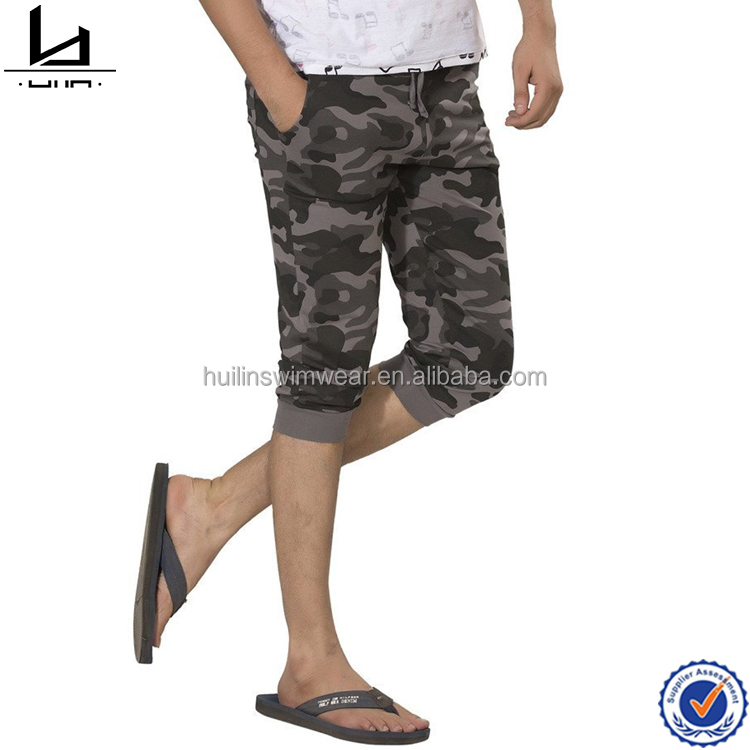 100% cotton mens new design camo half pants for men wholesale jogging trousers men sports short pants