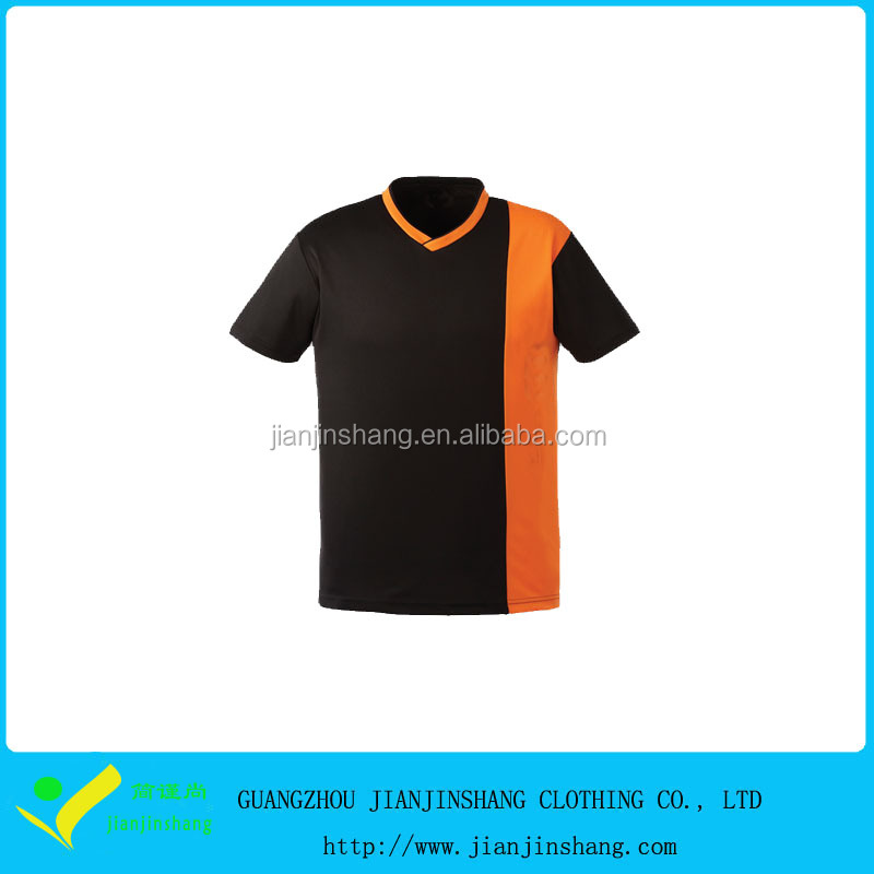 OEM Designed Color Combination Mans V Collar Performance Soccer T Shirt