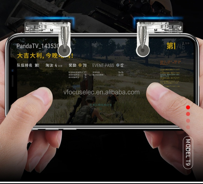 Portable Mobile gaming trigger fire button L1R1 PUBG mobile aim key trigger T9