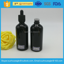 Wholesale 1/2oz 1oz 2oz 4oz 8oz 16oz 32oz black glass dropper bottle with screen printing for cosmetic essential oil packaging