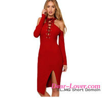New Stylish Lift Me Up Red Long Sleeve Bridesmaid Dresses