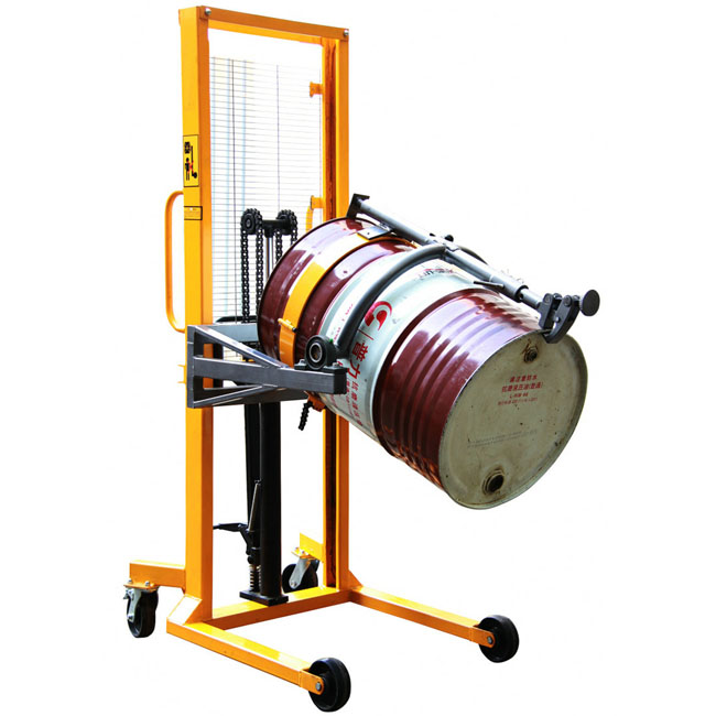 Mini manual stacker lifting equipment hydraulic hand forklift oil drum grab lifter