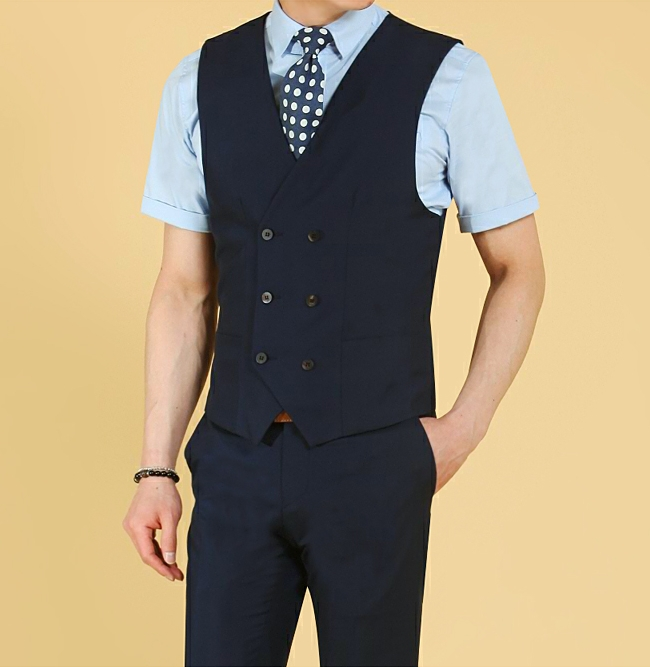 double-breasted six bottons navy blue fashion backness vest&waistcoat
