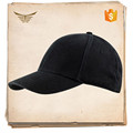 Wholesale popular 100% cotton unisex 6 panel blank black baseball cap for unisex