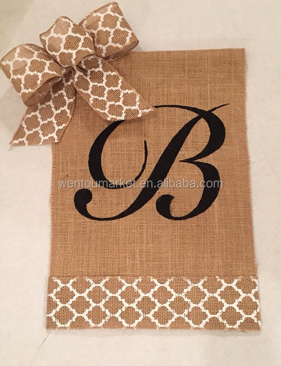 Wholesale Monogram Initial Burlap Garden Flag View Burlap