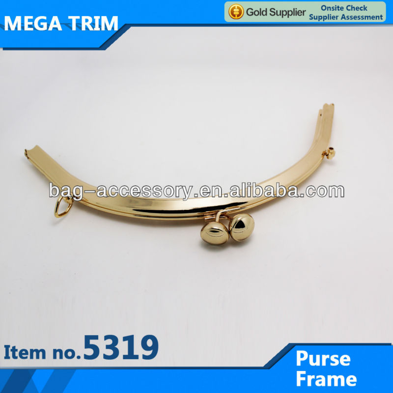 modern arch shape metal purse frame with two rings special kiss lock for purse frame wholesale flex purse frame No.5319
