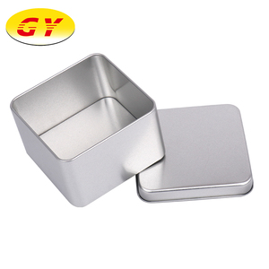 Food safe silver colored square tin box for cookie