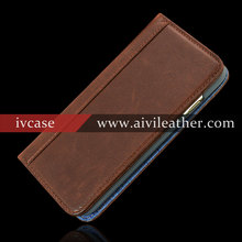 Nature Cow Leather Phone Wallet Case for Iphone 6 Plus with Jean Fabric Lining