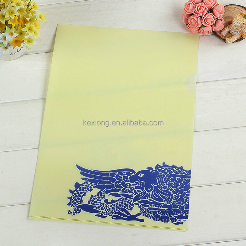 customized printing L shape clear holder file a4