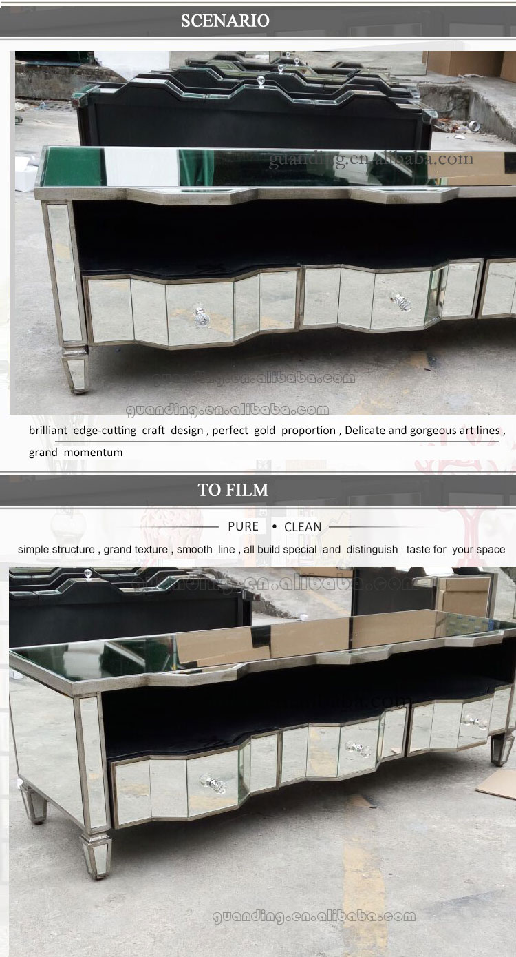australia hotsale antique modern glass mirrored design TV unit and mirrored stands