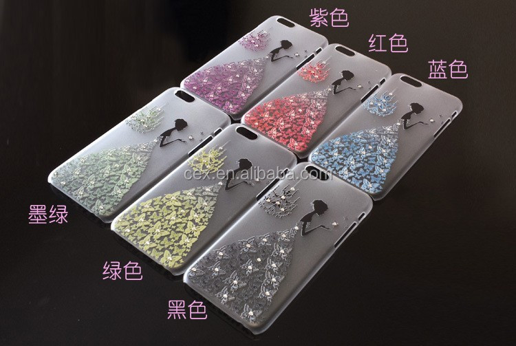 Hard Dress Girl Inlaid Shiny Glitter Diamond hard pc case Cover For iPhone 6