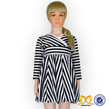 New Baby Girl Casual Cross Stripe Long Sleeve With White And Black Cotton Fashion Baby Girl Dress