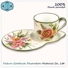 Food Grade Classical Flower Ceramic Tea Cup And Saucer Set