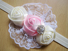 Festival elastic lace rose flower baby headband cheap wholesale