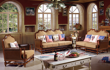 new design simple wooden frame copper nail classical sofa 6611