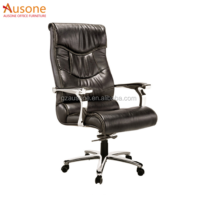 High End Boss Used Black Leather Chair with Aluminum Armrest