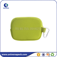 Green fancy zippered neoprene bag with hook for digital camera