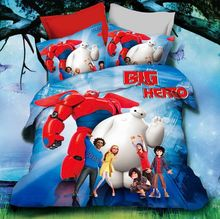 (High Quality) 100% Woven Cartoon Personality Bedding Set Big Hero 6 Wholesale Bedding Set, 3D Bedding Set, Baymax Bedding Sets