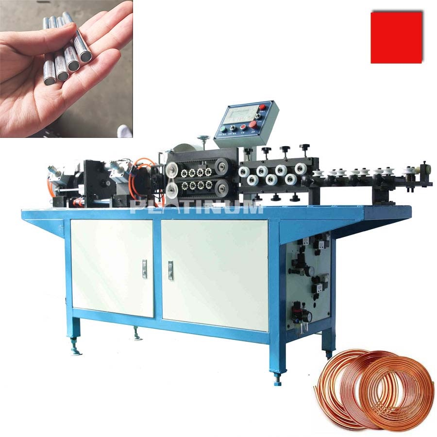 Coil steel bundy aluminum copper tube pipe cut to length machine with chipless clean <strong>cutting</strong>.