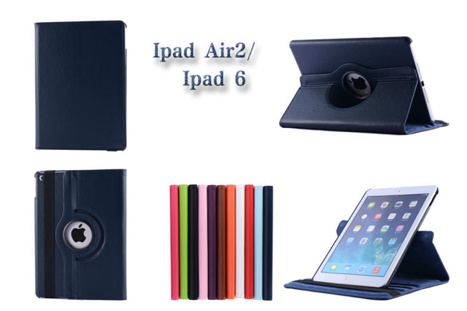 For IPAD AIR 2 Case factory wholesale 360 degree rotating leather flip smart cover case for ipad air 2 ipad 6