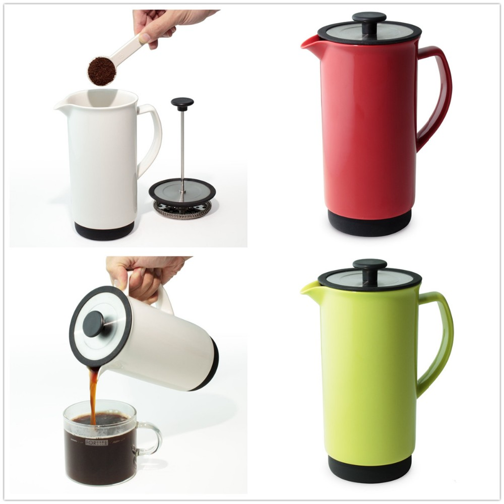Cafe Style Unique Ceramic White French Coffee Press