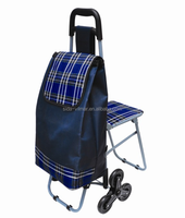 Fashion product multi function shopping trolley bag with chair and trolley bag cover