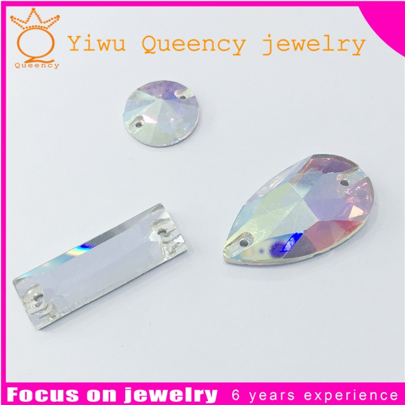 Wholesales crystal flatback stone glass stones with holes for garment accessories