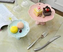 8'' Emboss High Foot Pink Porcelain Cake Plate Porcelain Cupcakes Fruite Plates Ceramic Sweetie Dishes Sugar Dessert Tray