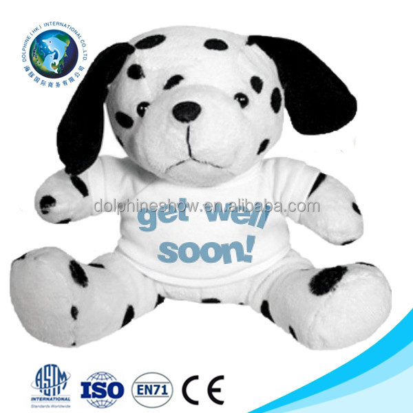 Custom printing LOGO stuffed animal toy plush spotted dog with t shirts wholesale cute cheap soft plush dog toy