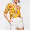 Create your own latest printed design women chiffon flower blouses