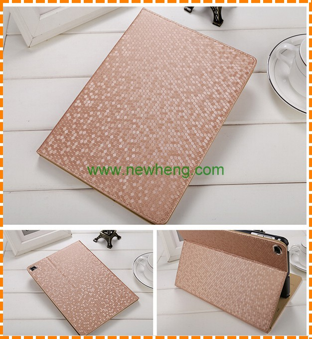 Diamond skin Leather Case for iPad Air 2, flip stand leather cover for ipad 6