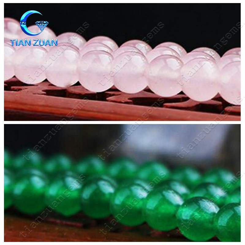 Hot sale white jade dyed various color round plain loose beads