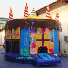 Party cake round inflatable bouncy castle commercial bouncer