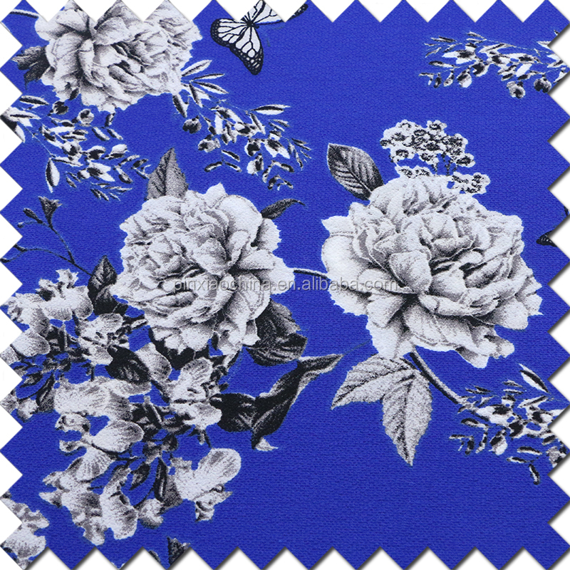 2017 blue and white flower print 100% polyester bubble chiffon fabric
