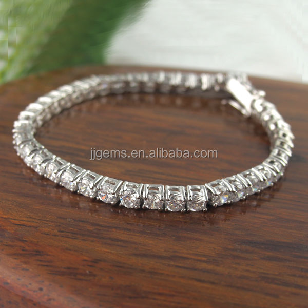 3mm round white cubic zirconia 925 sterling silver tennis bracelet