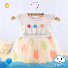 Wholesale children's boutique clothing latest lace polka dot sweet girl fancy flower fashio princess baby dress new style