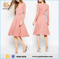 2016 Guangdong shandao formal eleagant plain dyed fashion summer long sleeve pink adult party dress