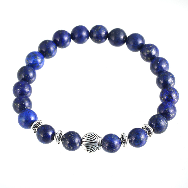 Shiny Semi Precious Lapis Lazuli Matte Natural Gemstone Beads Bracelet With Shell Charm Bracelet For Male And female