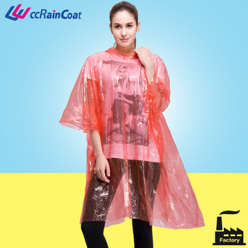 one time use pe rain poncho coat