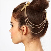 Gold plated wings girls hair accessories, Romantic crystal elegant hair accessories , hair clip