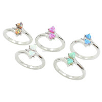 Sparkling Australia Fire Opal Two Heart Smooth Stone Genuine Silver Rings