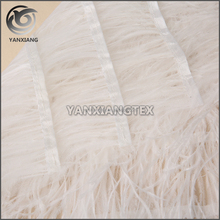 Haute couture white expensive feather material wedding dress fabric