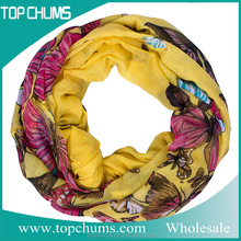 2016 fashion thai cheap butterfly printed Infinity neck scarf yellow loop scarf